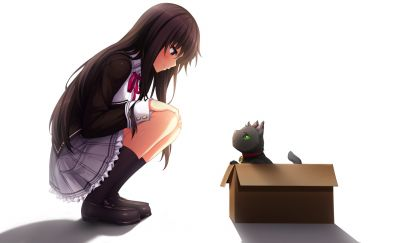 Cute Michi Kuroki and kitten, Nora to Oujo to Noraneko Heart