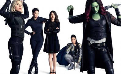 Avengers: infinity war, black widow, gamora, valkyrie