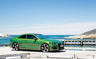 Audi rs5 coupe, green car, side view, 4k