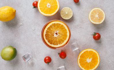 Vegetables, fruits, slices, lemon, tomato