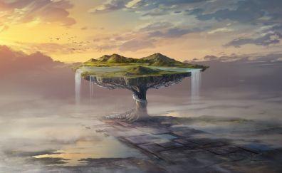 Fantasy, island, waterfall, tree