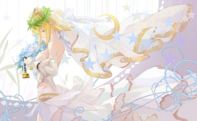 Saber, bride, white dress, fate/stay night