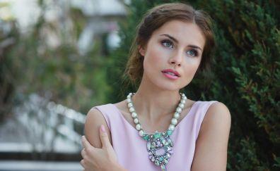 Beautiful, girl model, brunette, necklace
