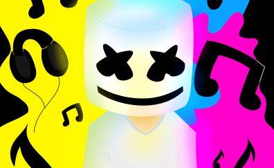 Marshmello, Music, DJ, digital art, colorful, 5k