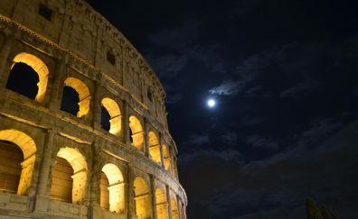 Colosseum, Rome, night, architecture