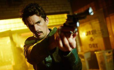 Predestination, 2014 movie, Ethan Hawke, actor, gun