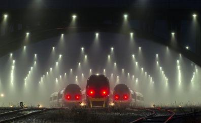 Railway station, trains