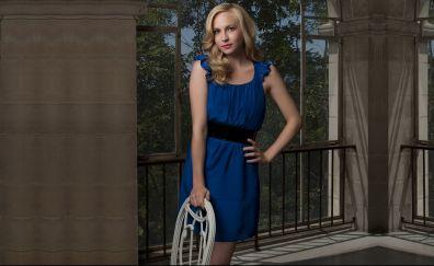 Candice Accola, blonde, blue dress