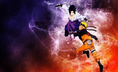 Naruto shippuden, nartuto, anime, Naruto Uzumaki, Sasuke Uchiha