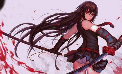 Akame, Akame Ga Kill!, anime girl with katana
