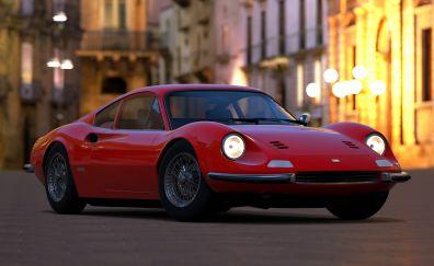 Ferrari Dino, sports car, red, 4k