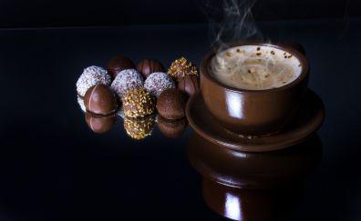 Coffee, coffee up, chocolates, reflections