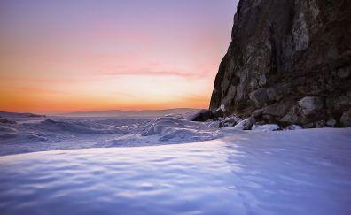 Lake Baikal, lake, sunset, nature