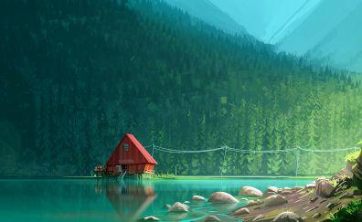 Illustration, artwork, house, lake, forest