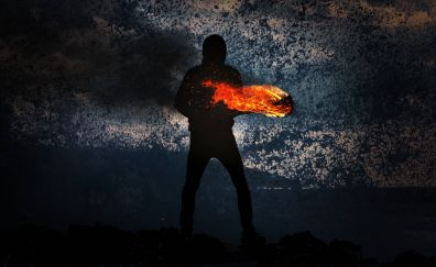 Man with fire