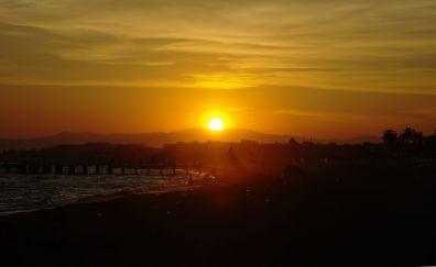 Sunset, sea, sun, bridge, skyline