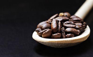 Coffee beans, spoon, wooden spoon
