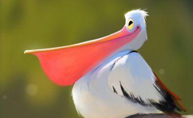 Happy Stork bird, big beak art