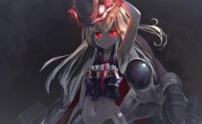 Kankolle, Kantai, white hair, angry anime girl