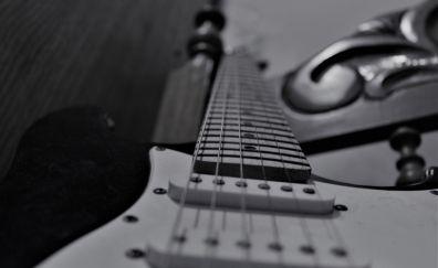 Guitar, music instruments, monochrome