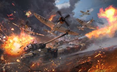 War thunder, video game, tanks, aircraft, military, 4k
