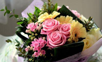 Colorful flowers, roses, Gerbera, basket