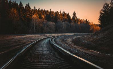 Railroads, landscape, trees, 5k