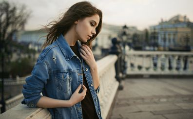 Xenia Kokoreva, jeans shirt, brunette, model