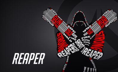 Reaper, typography, overwatch, 4k