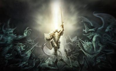 Diablo 3 video game, crusader, armor, warrior