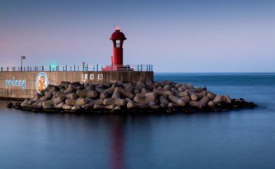 Lighthouse, coast, stones, sea, 5k