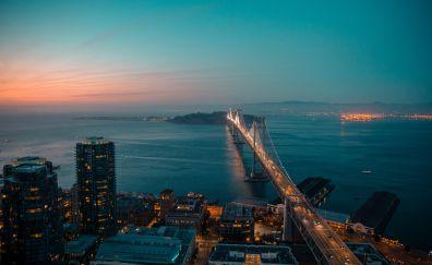 Night, city, bridge, aerial view
