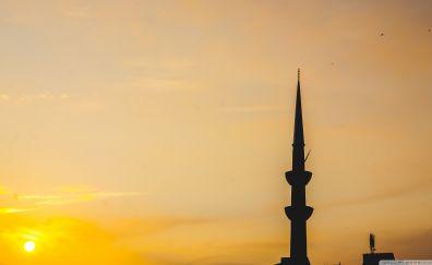 Mosque, architecture, sunset