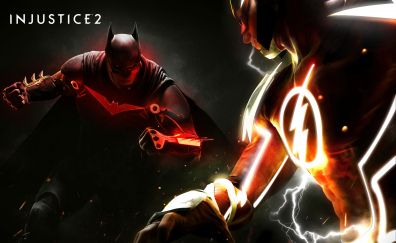 Injustice 2, poster, batman vs flash, 4k