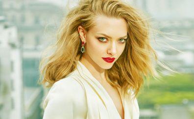 Amanda Seyfried, blonde, red lipstick, actress