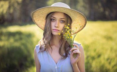 Cute, girl model, outdoor, meadow