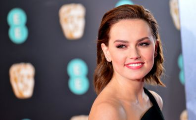 Daisy ridley, smiling face, premiere, famous actress, 4k