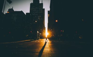 Road, sunrise, city, buildings