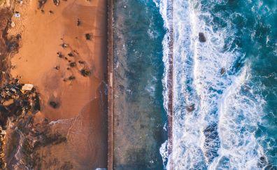 Aerial view, sea waves, beach