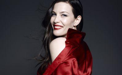 Liv tyler, red clothing, smile, 8k