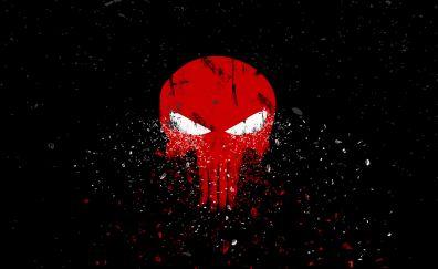 Punisher, logo, dark, skull, 4k