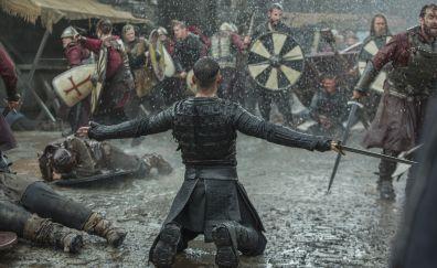 Vikings, tv series, rain, fight, 2017, 5k