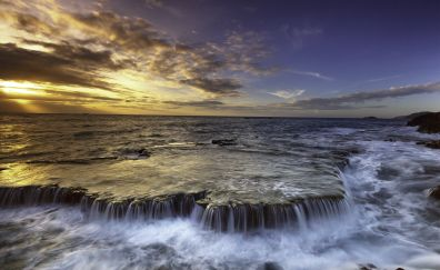 Waterfall, sea, sunset, skyline, coast, 5k