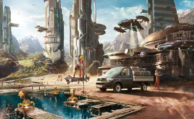 City, construction, fantasy, art, 4k
