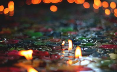Candles, bokeh, celebrations, decorations