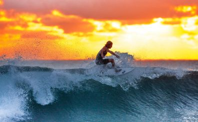 Surfer, sports, sunset, sea waves