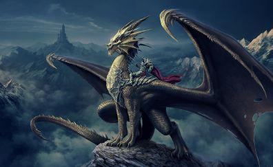 Dragon, warrior, knight, fantasy, art