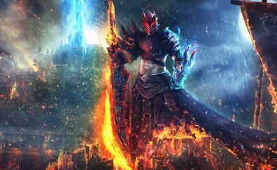 Guild Wars 2, Online game, warrior, dark, soldier, 4k