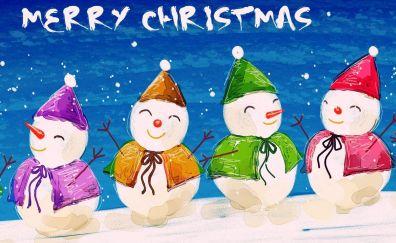 Christmas, snowmans, holiday, art