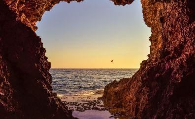 Sea caves, cave, beach, sea